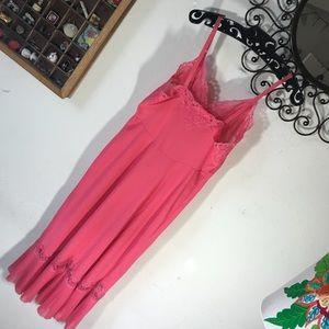 Vintage Intimates & Sleepwear - Vintage Vibrant Pink Pleated Vintage Slip Gown